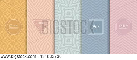 Vector Geometric Seamless Patterns. Set Of Stylish Pastel Backgrounds With Elegant Minimal Labels. A