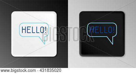 Line Hello In Different Languages Icon Isolated On Grey Background. Speech Bubbles. Colorful Outline