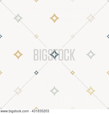 Seamless Vector Pattern With Small Diamond Rhombuses, Shaped And Stars. Abstract White, Gold, Teal G