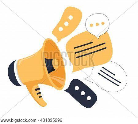Social Media Concept, Loudspeaker, And Messages. Advertisement, Announcement, Message, Alert. Flat L