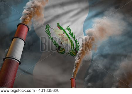 Pollution Fight In Guatemala Concept - Industrial 3d Illustration Of Two Big Industrial Chimneys Wit