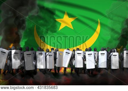 Mauritania Protest Fighting Concept, Police Special Forces In Heavy Smoke And Fire Protecting Peacef