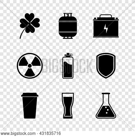 Set Four Leaf Clover, Propane Gas Tank, Car Battery, Coffee Cup, Glass Beer And Test Tube And Flask
