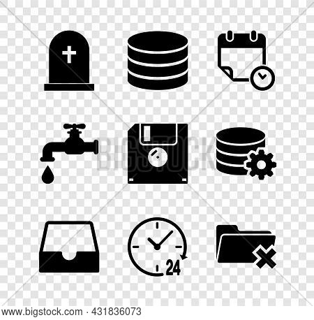 Set Tombstone With Cross, Database, Calendar And Clock, Social Media Inbox, Clock 24 Hours And Delet