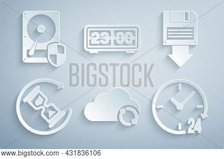 Set Cloud Sync Refresh, Floppy Disk Backup, Waiting, Clock 24 Hours, Retro Flip Clock And Hard Drive