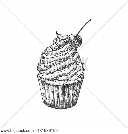 Cake With Cherry Sweets Hand Drawn Doodle Vector Illustration. Confectionary Sketch Style Drawing. I