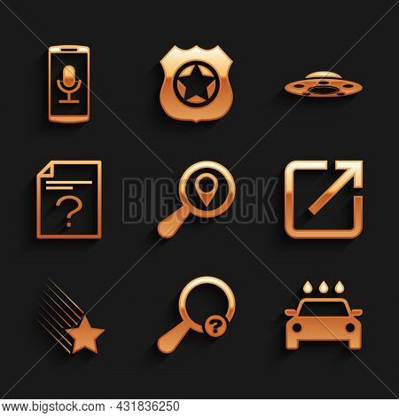 Set Search Location, Unknown Search, Car Wash, Open In New Window, Falling Star And Document Icon. V