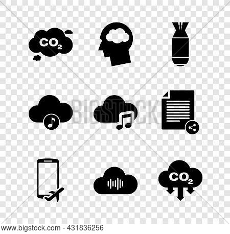 Set Co2 Emissions In Cloud, Head Silhouette With, Aviation Bomb, Flight Mode The Mobile, Music Strea