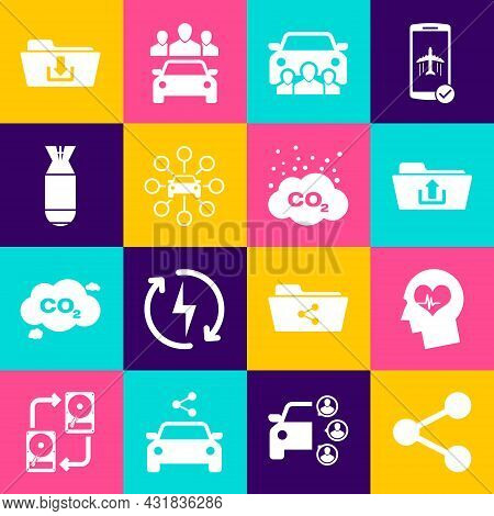 Set Share, Head With Heartbeat, Folder Upload, Car Sharing, And Aviation Bomb Icon. Vector
