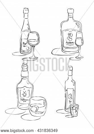 Bottle And Glass Vodka, Whiskey, Red Wine, Liquor Together In Hand Drawn Style. Beverage Outline Ico