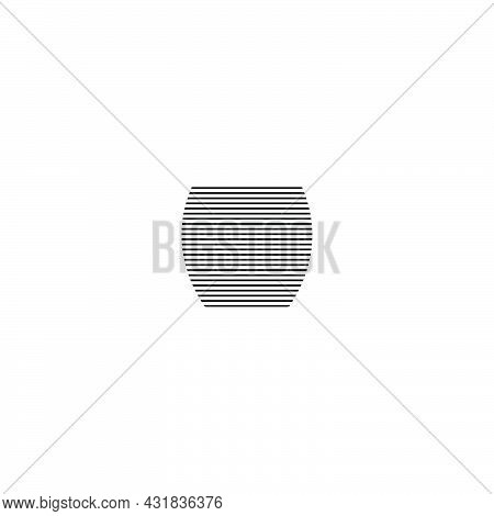 Whiskey, Brandy Or Vodka Glass In Minimalist Linear Style. Silhouette Of Glassware Performed In The