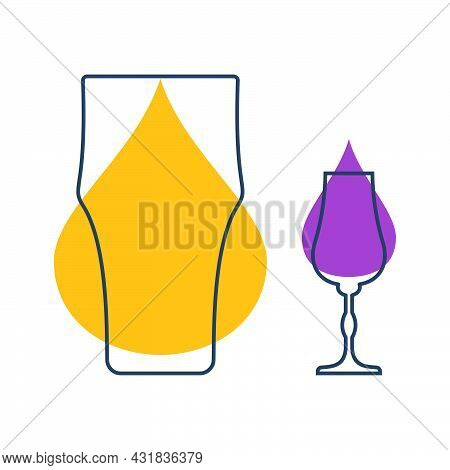 Two Glasses With Beer And Liquor. Shot Glass Drinks. Template Alcohol Beverage For Restaurant, Bar.