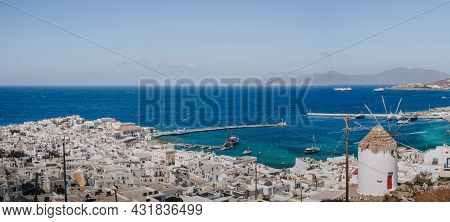 Mykonos Town, Greece - September 24, 2019: High Angle Panoramic View Of Hora (also Known As Mykonos