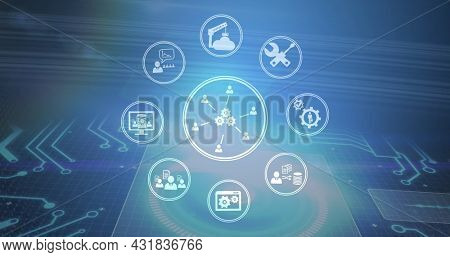 Image of network of digital icons over computer circuit board. digital interface, global technology, connection and communication concept digitally generated image.