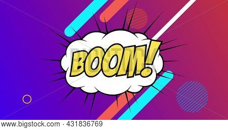 Image of Boom! text written in yellow on retro speech bubble over multiple abstract shapes moving in hypnotic motion in background. Vintage colour and movement concept digitally generated image.