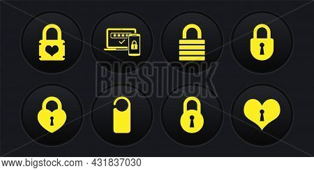 Set Castle In The Shape Of Heart, Lock, Please Do Not Disturb, , And Two Steps Authentication Icon.