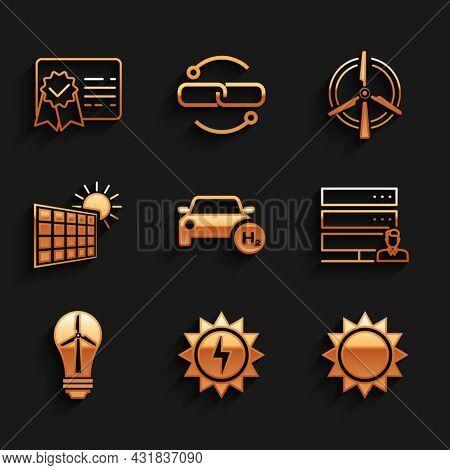 Set Hydrogen Car, Solar Energy Panel, Sun, Customer Care Server, Light Bulb With Wind Turbine, And S
