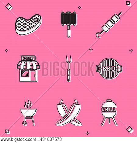 Set Steak Meat, Barbecue Steel Grid, Grilled Shish Kebab, Shopping Building, Fork, Grill, And Crosse