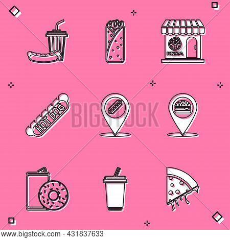 Set Soda And Hotdog, Burrito, Pizzeria Building Facade, Hotdog Sandwich, Location With, Burger, Alum