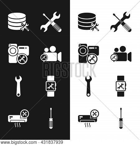 Set Video Camera Service, Database Server, Crossed Screwdriver And Wrench, Wrench, Smartwatch, Screw