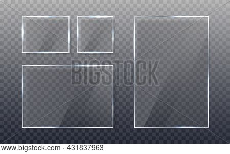 Glass Plate Set. Realistic Glass With Shadow. Clear Sheet On Transparent Background. Window Template