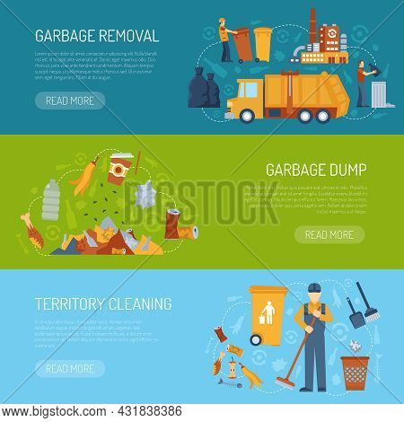 Horizontal Color Banner With Information About Territory Cleaning Garbage Dump And Removal Vector Il