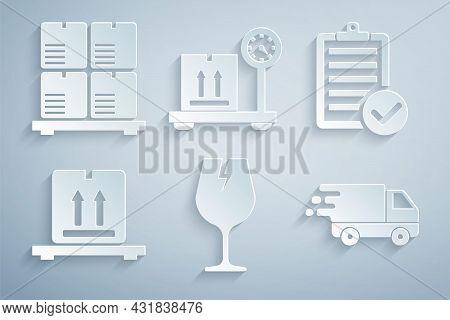 Set Fragile Broken Glass, Verification Of Delivery List, Cardboard Boxes Pallet, Delivery Truck In M