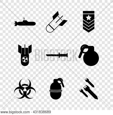 Set Submarine, Aviation Bomb, Chevron, Biohazard Symbol, Hand Grenade, Rocket, Nuclear And Military
