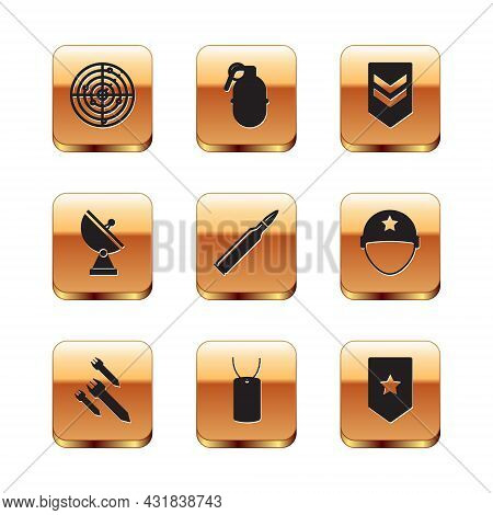 Set Radar With Targets, Rocket, Military Dog Tag, Bullet, Chevron, And Hand Grenade Icon. Vector