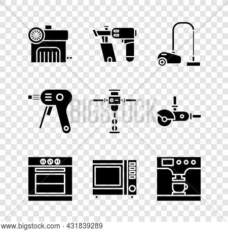 Set Air Compressor, Nail Gun, Vacuum Cleaner, Oven, Microwave Oven And Coffee Machine And Cup Icon.