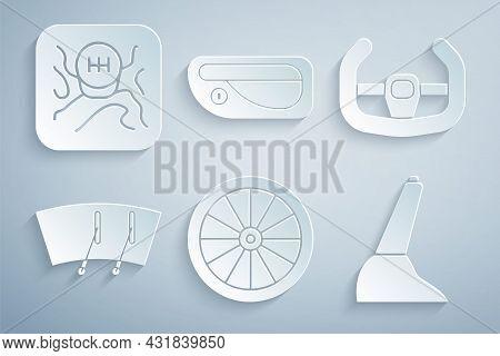 Set Car Wheel, Sport Steering, Windscreen Wiper, Handbrake, Door Handle And Gear Shifter Icon. Vecto