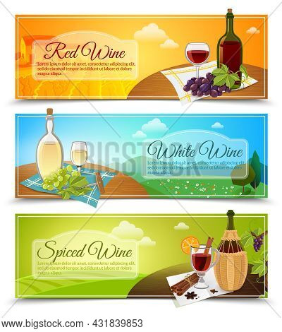 Set Of Three Horizontal Colored Banners In A Modern Style With Different Types Of Wines Vector Illus