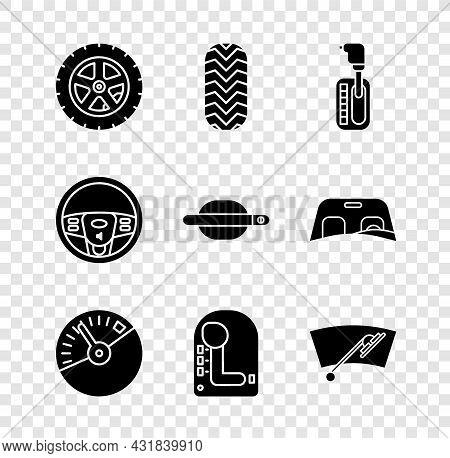 Set Car Wheel, Tire, Gear Shifter, Speedometer, Windscreen Wiper, Steering And Door Handle Icon. Vec