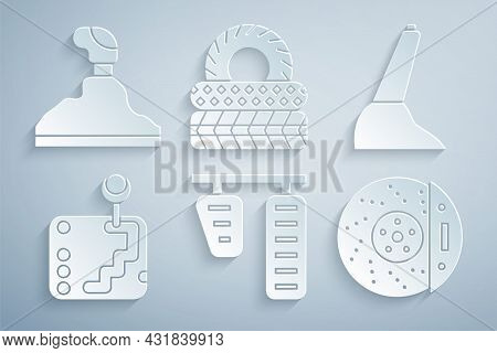 Set Car Gas And Brake Pedals, Handbrake, Gear Shifter, Disk With Caliper, Tire And Icon. Vector