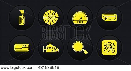 Set Car Door Handle, Engine, Mirror, Speedometer, Brake Disk With Caliper, Gear Shifter And Icon. Ve