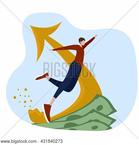 Vector Illustration For A Successful Business Project, Finance, The Concept Of Money And Prosperity,