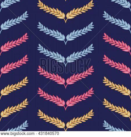 Colorful Laurel Chevron Repeat Pattern Vector Texture Print Background