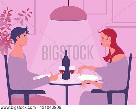 Vector Illustration Of Boy And Girl Couple At Restaurant Table About To Drink Wine. In Delicate Pink