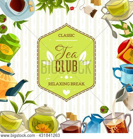 Retro Style Poster With Tea Club Label In Center And Different Accessories Like Mug Teapot Tea Leave