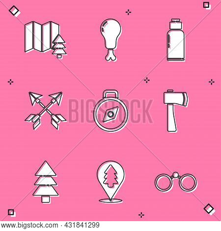 Set Location Of The Forest, Chicken Leg, Canteen Water Bottle, Crossed Arrows, Compass, Wooden Axe,