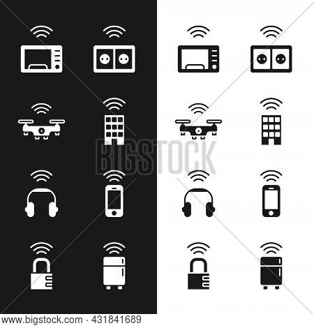 Set Smart Home With Wireless, Drone, Microwave Oven, Electrical Outlet, Headphones, Wireless Smartph