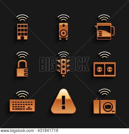 Set Smart Traffic Light, Exclamation Mark In Triangle, Photo Camera, Electrical Outlet, Wireless Key