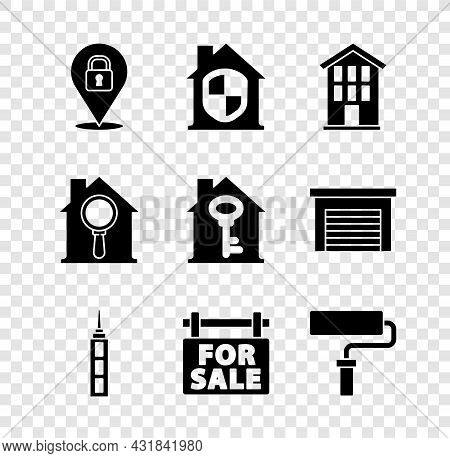 Set Location Lock, House Under Protection, Skyscraper, Hanging Sign With For Sale, Paint Roller Brus