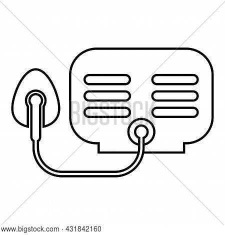 Inhaler Nebulizer Medical Aerosol Equipment Contour Outline Icon Black Color Vector Illustration Fla