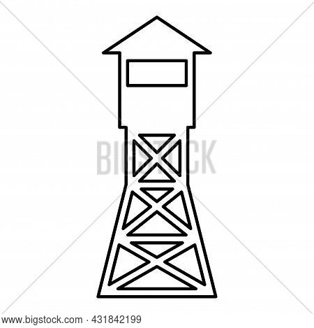 Watching Tower Overview Forest Ranger Fire Site Contour Outline Icon Black Color Vector Illustration
