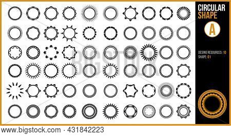 A Circular Shape Design Resource Set In Black And White.