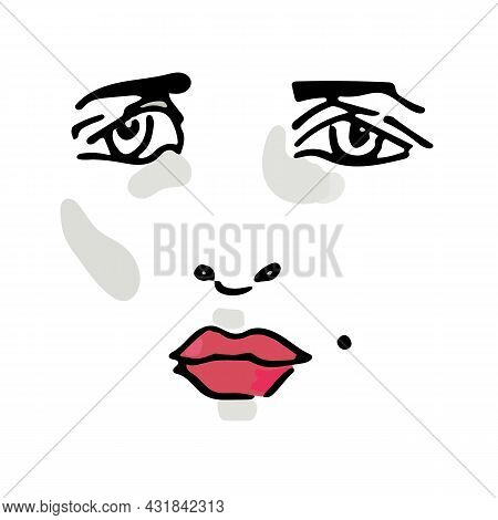 Vector Illustration Of A Sad Female Face With A Mole And Red Lips.