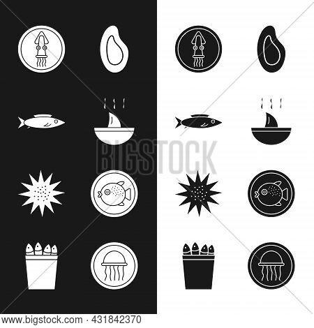 Set Shark Fin Soup, Fish, Octopus On Plate, Mussel, Sea Urchin, Puffer Fish, Jellyfish And Fishing B
