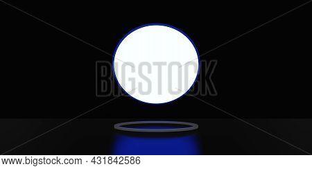 Backlit Display With Curved Frame Display Stand Neon Light Black Background 3d Rendering