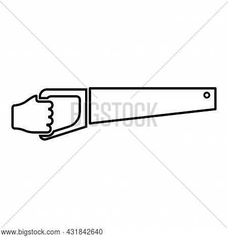 Wood Saw In Hand Tool In Use Arm For Cutting Timber Symbol Sawmill Concept Contour Outline Icon Blac
